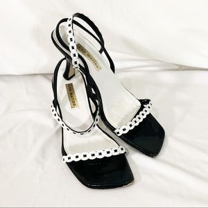 Black and white, trendy square toe heels